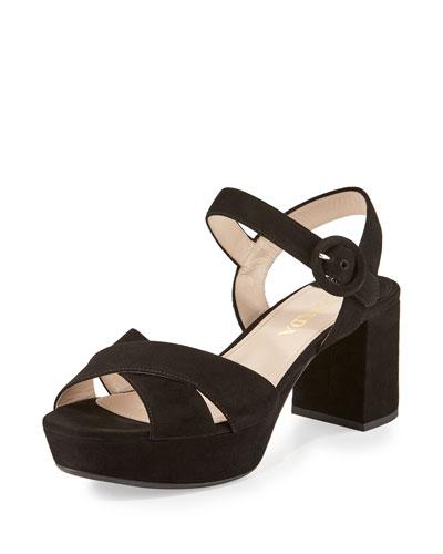 Crisscross Suede Platform Sandal, Black (Nero)