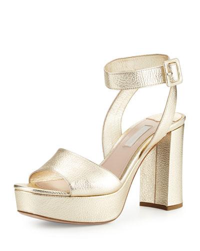 Metallic Platform Ankle-Wrap Sandal, Pyrite