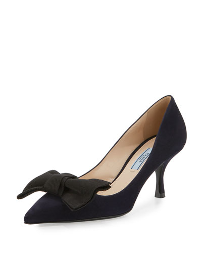 Suede Pointed-Toe 65mm Bow Pump, Bleu/Black