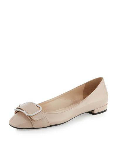 Patent Buckle Ballerina Flat, Cipria