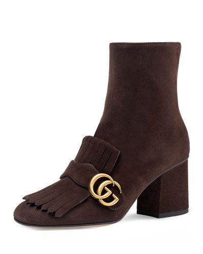 Marmont Suede 75mm Ankle Boot, Brown