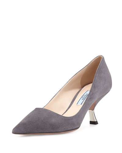 Suede Comma-Heel Pointed-Toe Pump, Nebbia