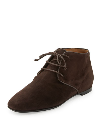 Ada Suede Lace-Up Bootie, Dark Brown