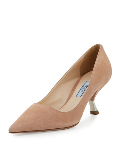 Suede Comma-Heel Pointed-Toe Pump, Nudo