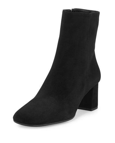 Suede Square-Toe Ankle Boot, Black (Nero)