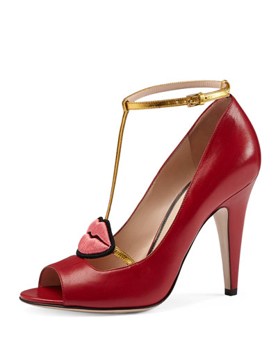 Molina Lips Leather Pump, Red