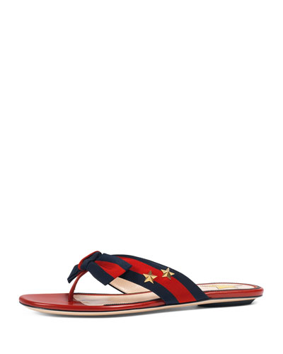 Studded Grosgrain Web Thong Sandal, Red