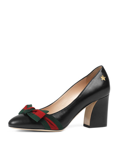 Aline Leather Pump, Black