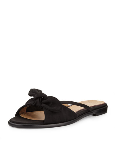 April Bow Satin Slide Sandal, Black