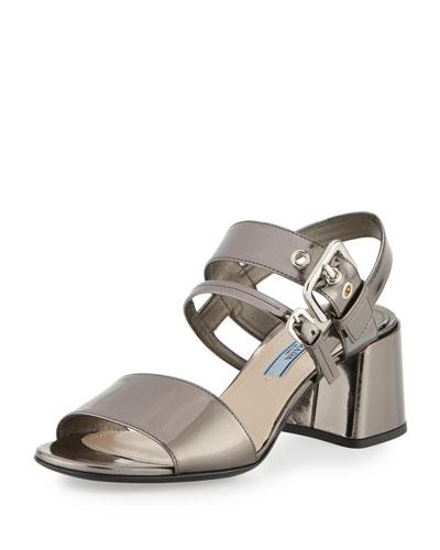 Metallic 55mm Chunky-Heel Sandal, Anthracite
