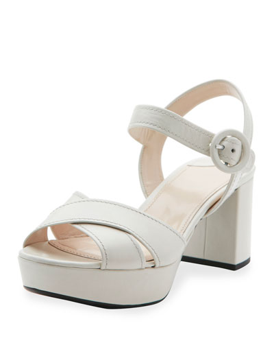 Crisscross Leather Platform Sandal, Talco