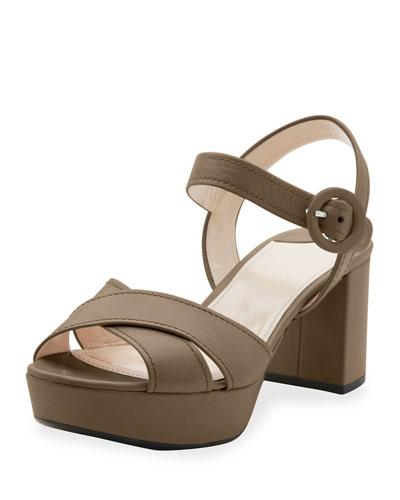 Crisscross Leather Platform Sandal, Giunco