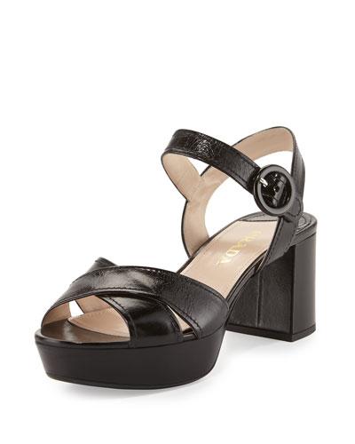 Crisscross Leather Platform Sandal, Black (Nero)