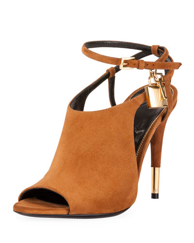 Lock Suede Open-Toe Ankle-Wrap Bootie, Biscuit