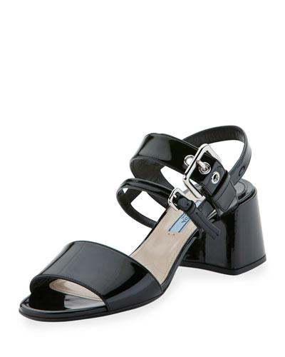 Patent 55mm Chunky-Heel Sandal, Nero