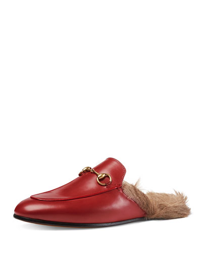Princetown Fur-Lined Mule, Red