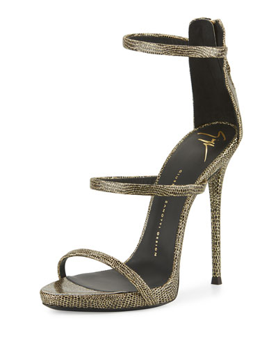 Embossed Leather Three-Strap Sandal, Black/Gold