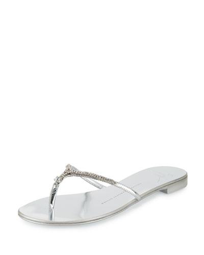 Nuvorock Crystal Flat Thong Sandal, Argento