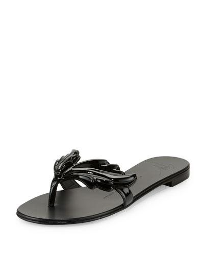Wings Patent Flat Thong Sandal, Nero