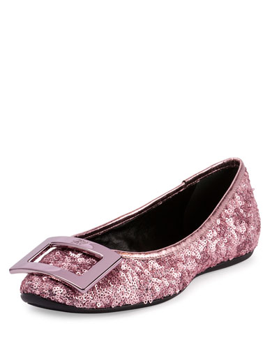 Gommette Buckle Sequined Flat, Pink