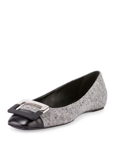 Ballerine U Cut Cap-Toe Flat, Gray/Black