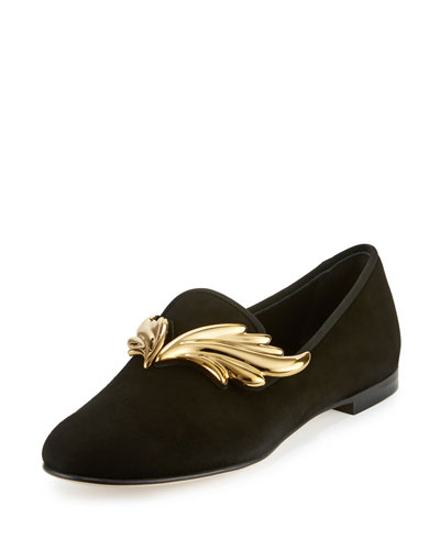 Dalila Wings Suede Smoking Slipper, Nero/Oro