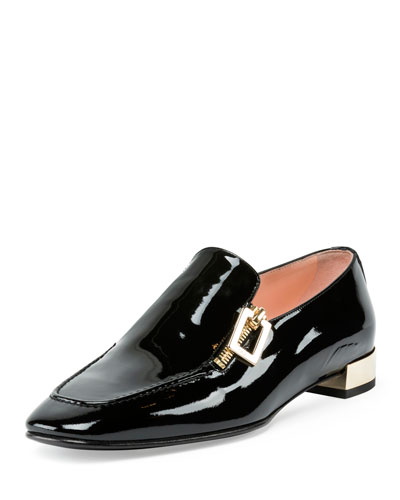 Polly Patent Zip Loafer, Black