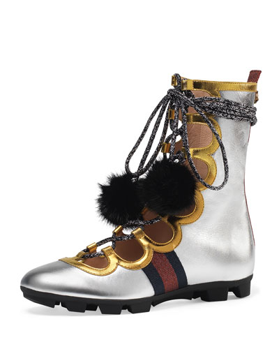 Titan High Leather High-Top Sneaker, Silver