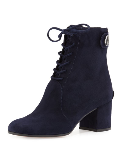 Finlay Mid Suede Lace-Up Bootie, Denim