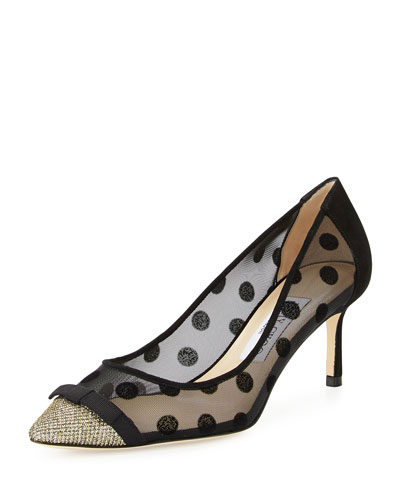 Dorothy Polka-Dot Mesh Pump, Black/Bronze