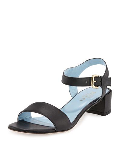 Cadi Leather City Sandal, Black
