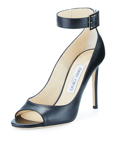 Henna Leather Open-Toe Ankle-Wrap Pump, Black