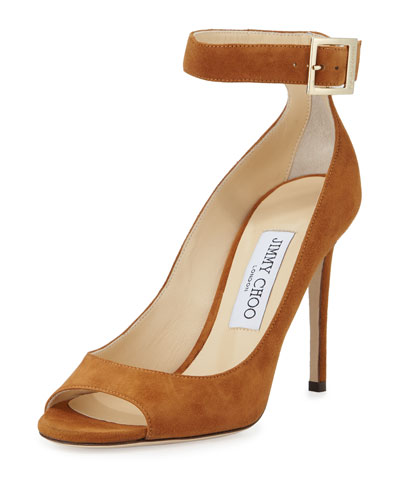 Henna Suede Open-Toe Ankle-Wrap Pump, Canyon
