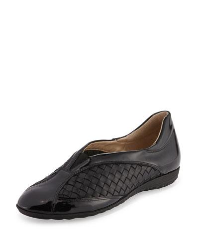 Barabel Woven Leather Sneaker, Black