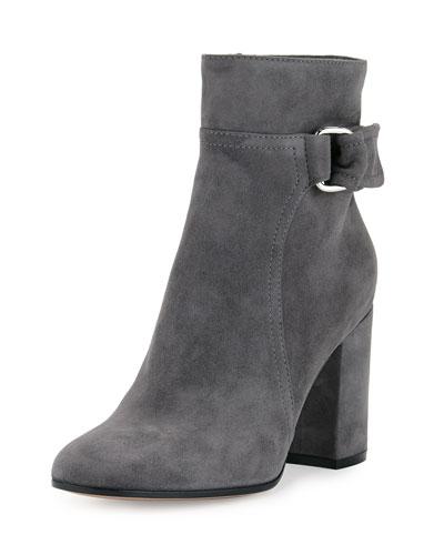 Suede 85mm Block-Heel Boot, Lapis