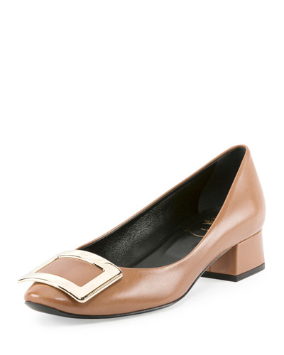 Belle de Nuit Leather Pump, Cognac