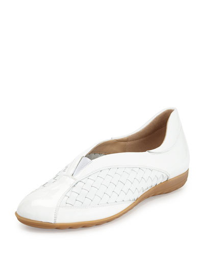 Barabel Woven Leather Slip-On Sneaker, White
