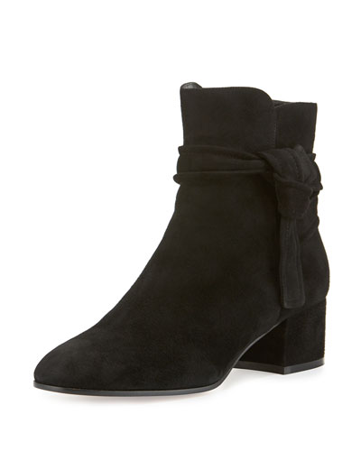 Suede Side-Tie 45mm Ankle Boot, Black