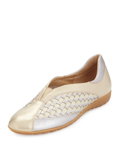 Barabel Woven Leather Slip-On Sneaker, Pale Platino