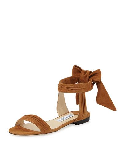 Kora Suede Ankle-Wrap Flat Sandal, Canyon