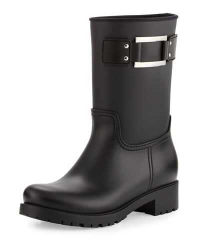 Buckle Rubber Rain Boot, Black