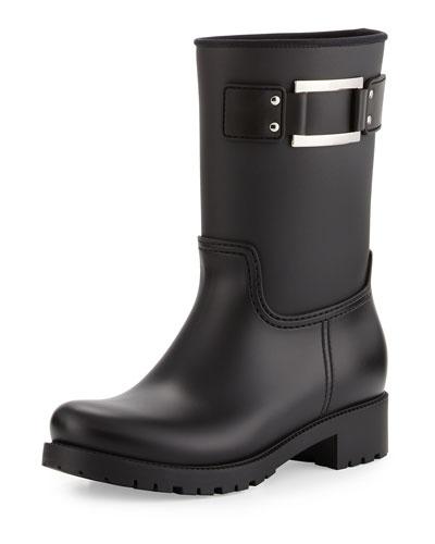 Buckle Rubber Rain Boot, Black