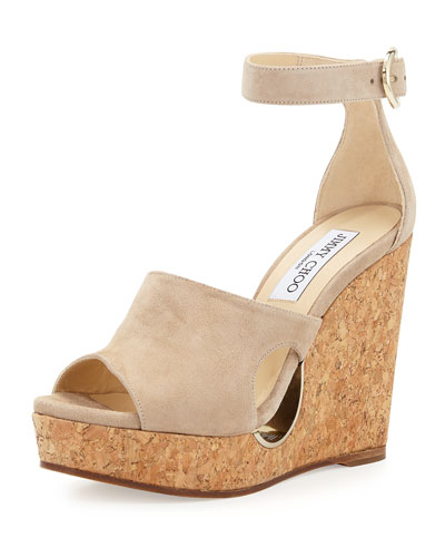 Neyo Suede/Cork Ankle-Wrap Wedge Sandal, Nude