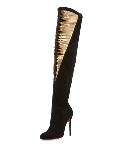 Siegfridalta Strappy 100mm Red Sole Over-the-Knee Boot, Black/Mekong