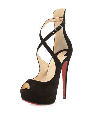 Marlenalta Suede 150mm Red Sole Pump, Black