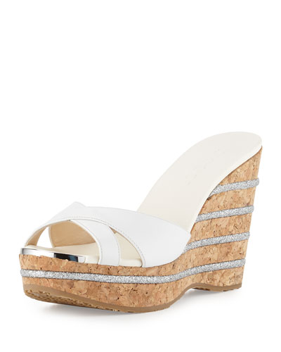 Perfume Leather Wedge Slide Sandal, Optic White