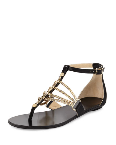 Wallace Chain T-Strap Sandal, Black