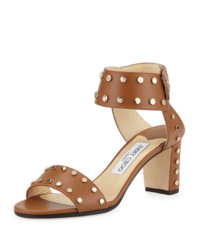 Veto Studded Leather 65mm Sandal, Canyon/Gold