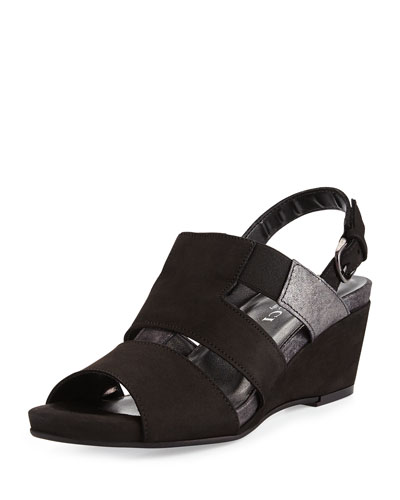 Kaleo Leather Wedge Sandal, Black