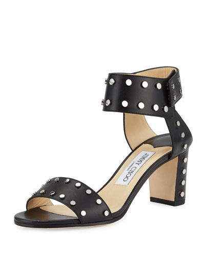 Veto Studded Leather 65mm Sandal, Black/Silver